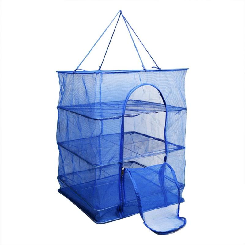 Foldable 4 Layers Fish Net Drying Rack Folding Mesh Hanging Non-Toxic Vegetable Dishes Hanger Dryer