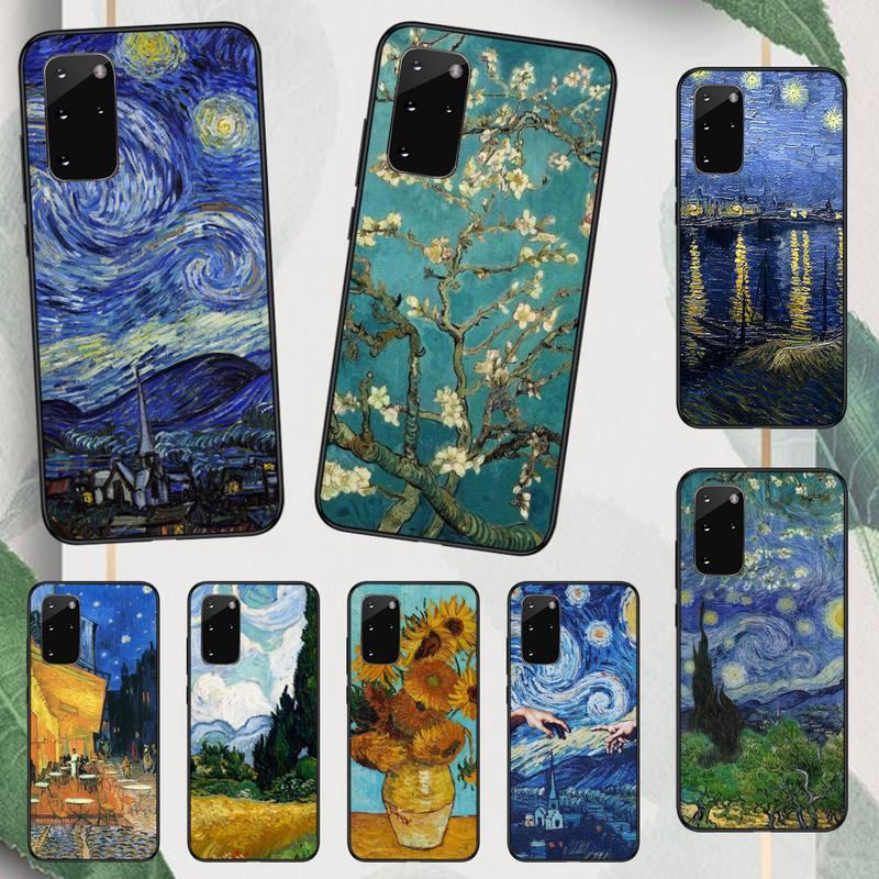 Van Gogh Skull Tardis Phone Case For Samsung A50 A51 A71 A20E A20S S10 S20 S21 S30 Plus ultra 5G M11