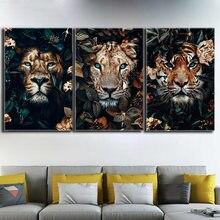 Animais da selva tigre leão imagem 5d quadrado completo diamante pintura redonda strass bordado mosaico ponto cruz arte fabulosa
