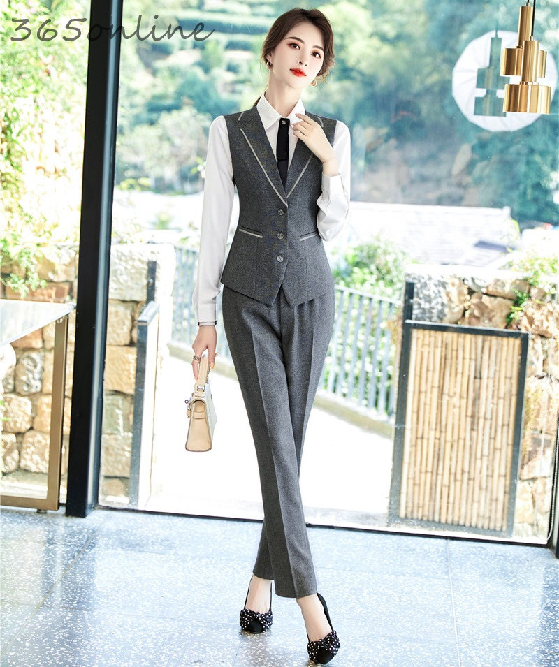 Formal 2 Piece Set With Pants And Tops For Women Business Work Wear Vest & Waistcoat Suits Office Ladies Uniforms Blazers Set