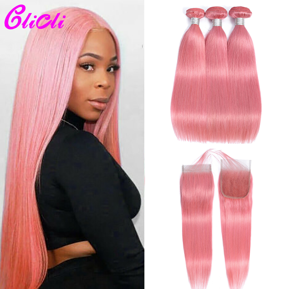 Pink Mongolian Hair Bundles With Closure Straight Colored Human Hair Weave Bundles With 4x4 Lace Closure Pre Plucked Remy