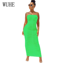 все цены на WUHE Elegant Candy-color Femme High Elastic Slim Pleated Dress Sexy Off Shoulder Sleeveless Strapless Bodycon Maxi Tube Dress онлайн