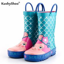 KushyShoo Kids Rain Boots Childrens Rubber Boots Lovely Mermaid Patterns Kids Boots 2019 Girls Rainboots Toddler Water Shoes
