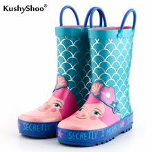 KushyShoo Kids Rain Boots 아동용 고무 부츠 러블리 인어 패턴 Kids Boots 2019 Girls Rainboots 유아용 워터 슈즈