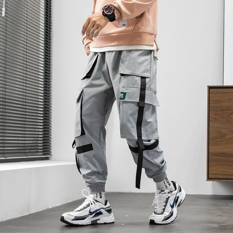 Streetwear Hip Hop Cargo Pants 2020 Spring Autumn Mens Baggy Pockets Ribbon Joggers Pants Men Japanes Style Black Harem Pants
