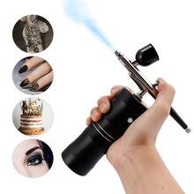 Aerógrafo de 0,4mm para pastel de maquillaje, Kit de compresor, PISTOLA DE PULVERIZACIÓN de cepillo de aire de movimiento único para pintura artística, manicura artesanal, modelo de pulverización