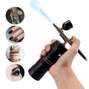 Image 1 - Aerógrafo de 0,4mm para pastel de maquillaje, Kit de compresor, PISTOLA DE PULVERIZACIÓN de cepillo de aire de movimiento único para pintura artística, manicura artesanal, modelo de pulverización