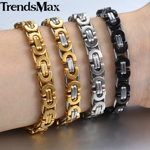 7/9/11mm Men's Bracelet Stainless Steel Byzantine Link Chain Gold Black Bracelets Male Jewelry 7-11