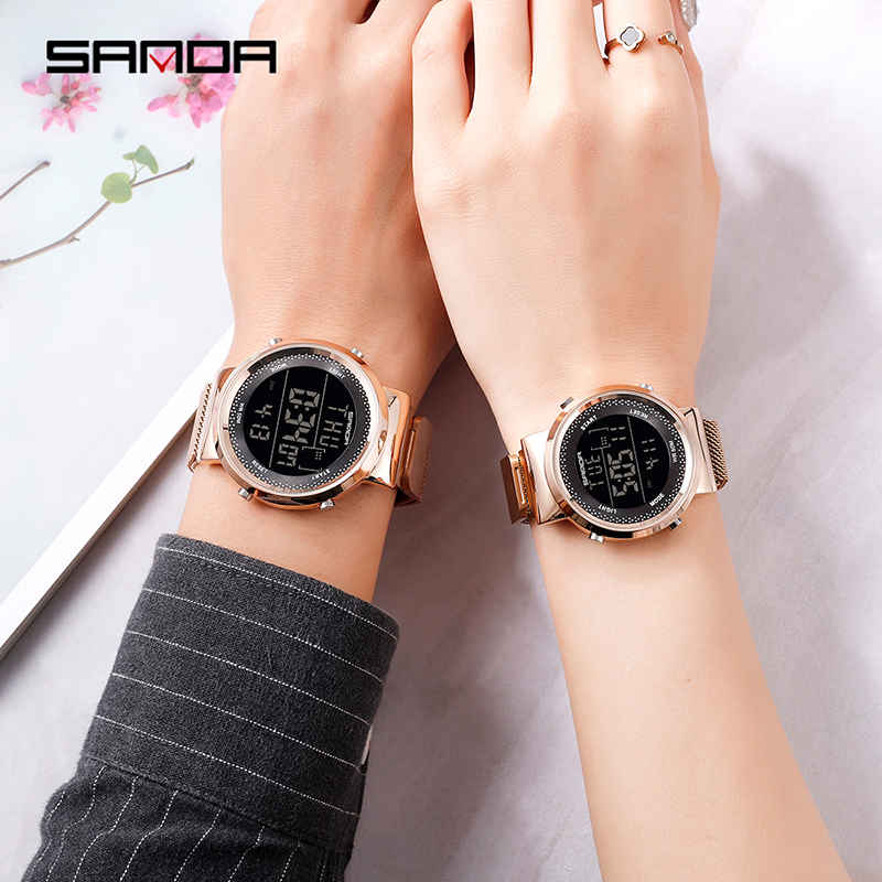 2019 SINDA Brand Fashion Steel Mesh Band Luxury Couple Dress Quartz WristWatch Lover's Simple Casual Watch orologi coppia title=