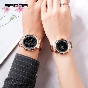 Image 1 - 2019 SINDA marque de mode en acier maille bande de luxe Couple robe Quartz montre bracelet amoureux Simple décontracté orologi coppia