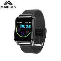 Makibes C5 Smartwatch for Men 1.3 inch Color Touchscreen Blood Pressure Heart Rate Monitor IP67 Water Resistant Stainless Strap