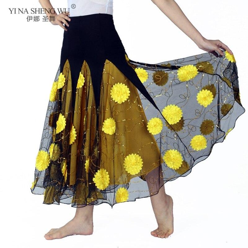 New Luxurious Belly Dance Costume Long Flower Skirts Adult Ballroom Dancing Gypsy Skirt Belly Dance Waltz Indian Oriental Skirt