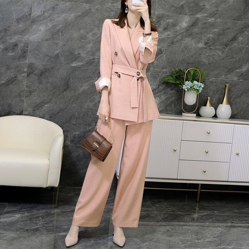 Large size M-5XL women's pants suit two-piece suit 2020 new casual ladies mid-length jacket Elegant wide-leg pants Female
