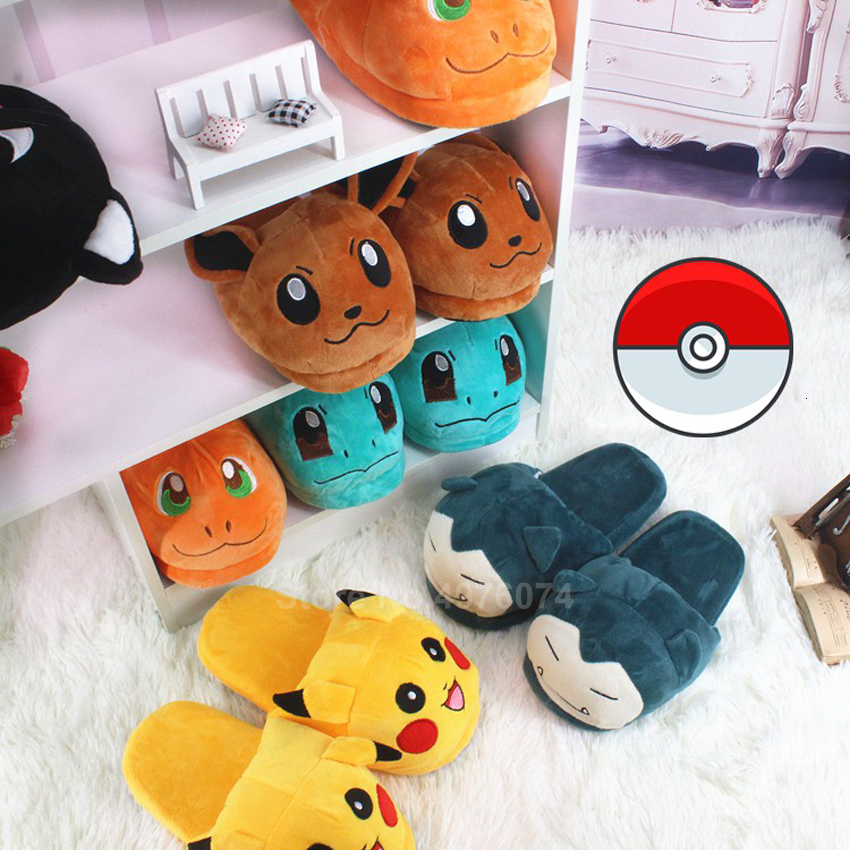 Man Women Anime Cartoon Pokemon Pikachu Snorlax Charmander Squirtle Winter Slippers Keep Warm Plush Slip On Cosplay Shoes