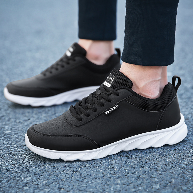 PU Leather Casual Shoes Mens Sneakers Men Lace Up Spring  Arrival Breathable Leisure Footwear Board Shoes Males Adult MasculinoMens Casual Shoes   -