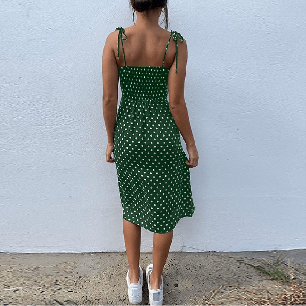 Dresses 2020 Sundress Summer Women Causal Polka Dot Sleeveless High Pleated elastic waist V-Neck Beach Dress Vestidos De Verano