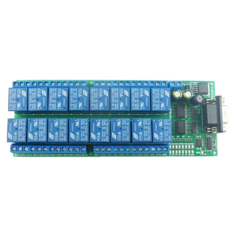 ABKT-16-Channel 12V RS232 Serial Port DB9 Relay Board UART Smart Switch Module LED Motor