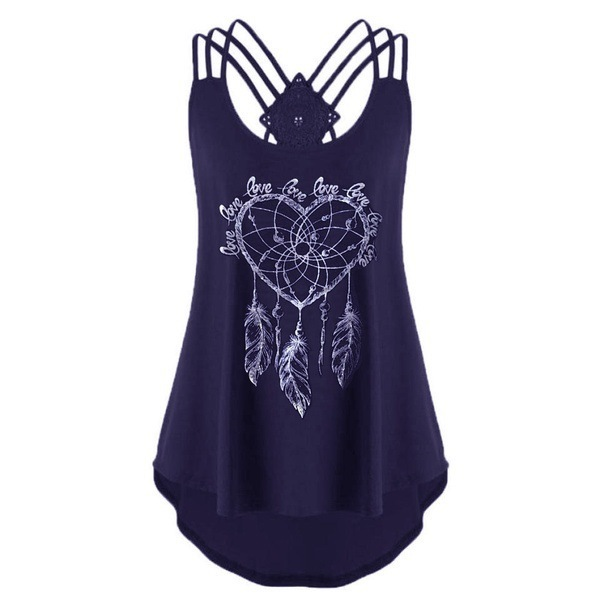 Summer Hearted Tassel Feather Printed T shirts Women Sleeveless Asymmetrical T-shirts Sexy Shoulder Off Backless Tops Plus Size 6