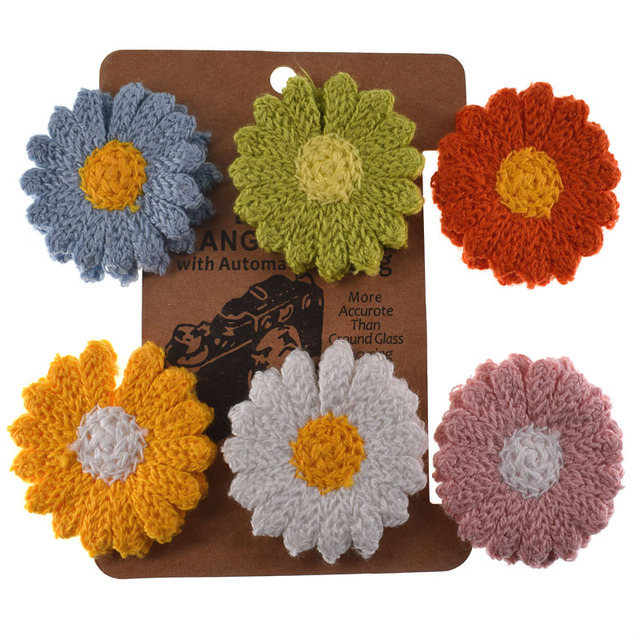 Appliqu\u00e9s of hand crocheted flower colors yellow and blue cotton 3.5 inches