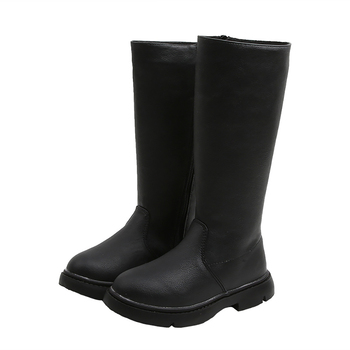 asumer black fashion winter snow boots round toe keep waem knee high boots zip shearling comfortable pu cow leather boots women Kids Winter Warm Boots PU Leather Knee-High Boots Fashion Baby Girl Round Toe Zip Long Boots Anti Slip Warm Fur Lined Boots Q30