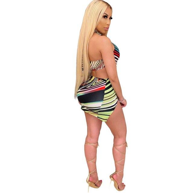 Sexy Print Dress Summer Hollow Out Beach wear Swim suit Dress for Women Casual Halter Bandage Cut Out Dress 4