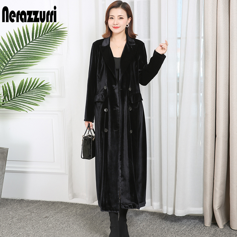 Nerazzurri 2020 Spring Womens Clothes Double Breasted Peaked Lapel Long Sleeve Long Velvet Coat Plus Size Maxi Overcoat Women