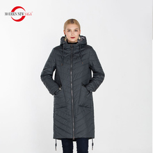 MODERN NEW SAGA  Plus Size Women Hooded Coat & Jacket Thin Cotton Padded Parkas Female Long Style Overcoat Casual Outwear