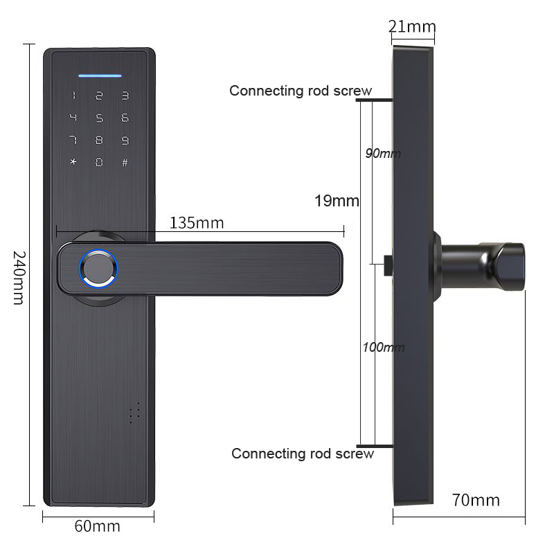 Wifi Tuya Phone APP Remotely Biometric Fingerprint Door Lock IC Card Digits Code For Office Homestay Wifi Tuya Phone APP Remotely Biometric Fingerprint Door Lock IC Card Digits Code For Office / Homestay / Hotal Lock