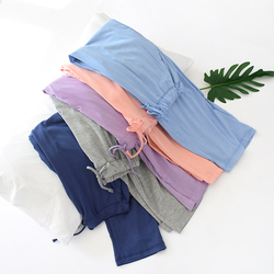 Summer and Autumn Pajama Pants Knitted Pure Color Model Sleep Bottoms Sleep Wear for Women Drawstring Loose Thin Lounge Pants