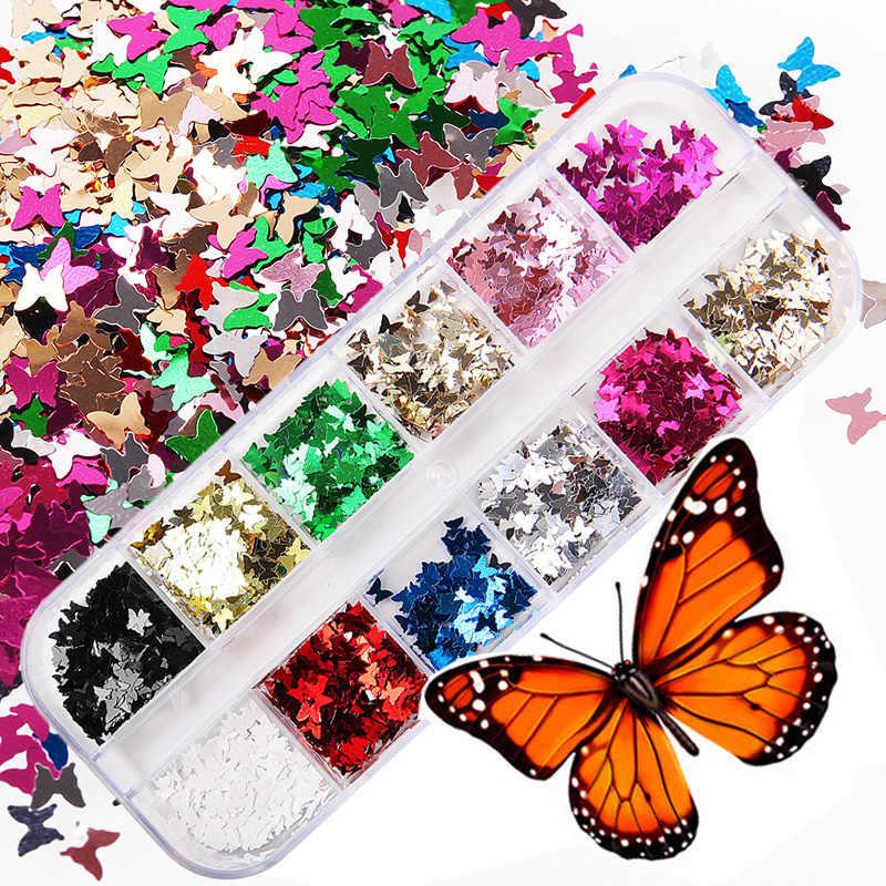 12 สีผีเสื้อรูปร่างเล็บFlakes Holographic Paillette 3Dเลเซอร์Glitter Bow Tieเล็บเล็บเคล็ดลับตกแต่งDIYเครื่องมือ