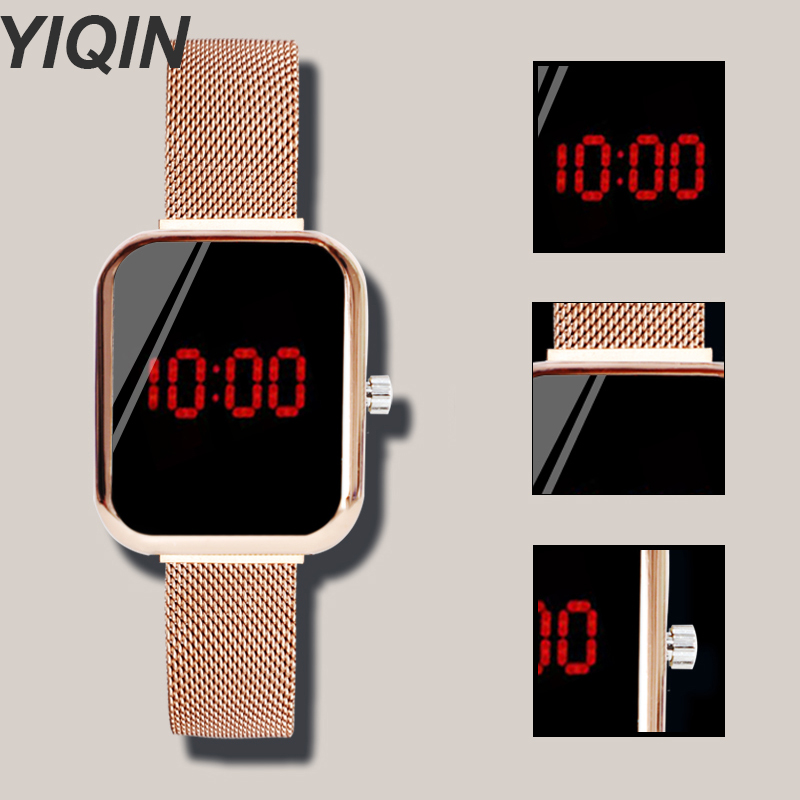Women's Watches Rose Gold Women Digital Female Watch LED Watch Stainless Steel Digital Watch Ladies Wristwatch Electronic Clock