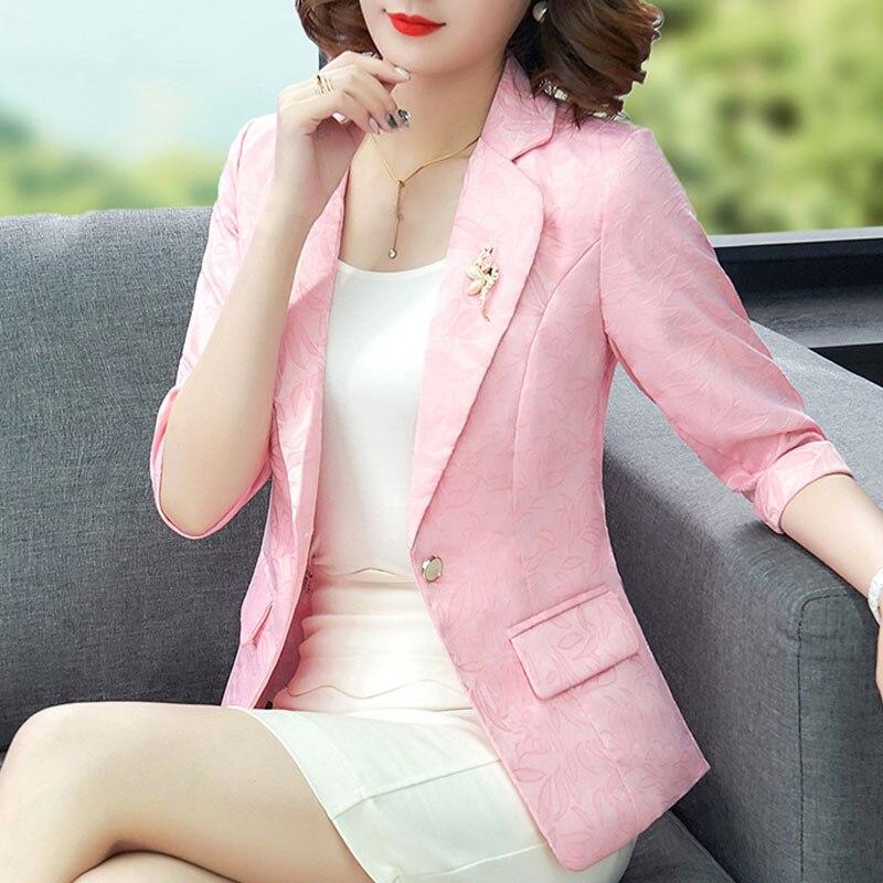 Women Blazers 2019 Three Quarter Solid Single Button V-Neck OL Blazer Feminino Winter Clothes Women Pink Plus Size Blusas 0294
