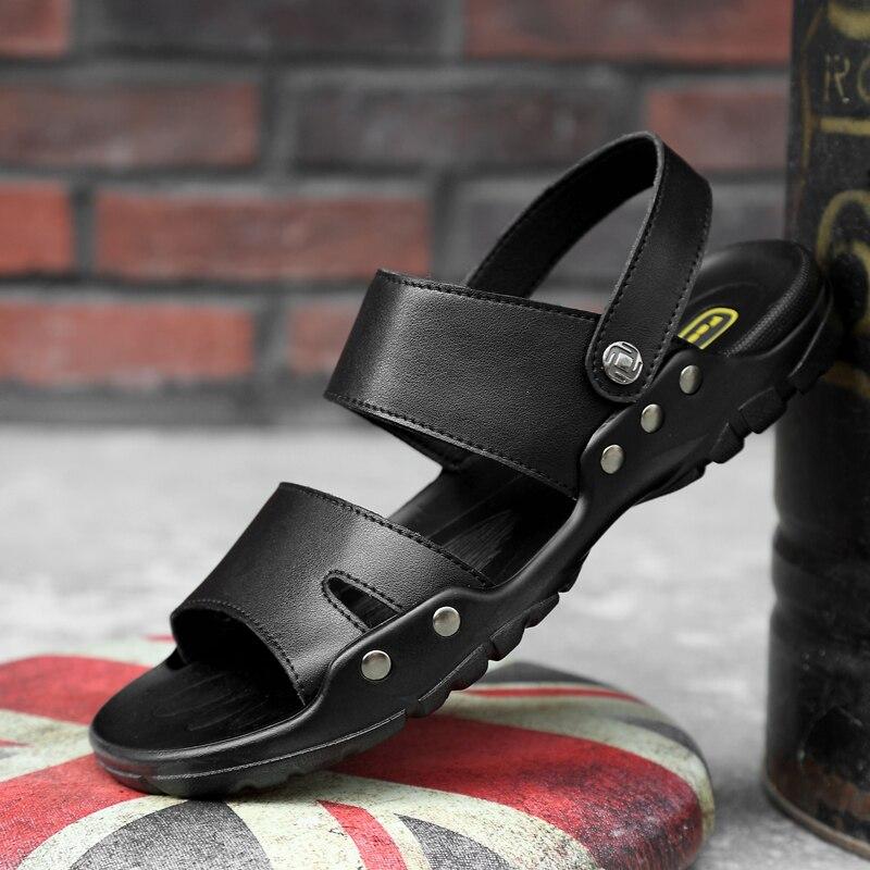 Grande taille 38-52 été hommes sandales en cuir homme chaussures de plage en plein air lumière hommes sandale chaussures fond souple romain confortable hommes