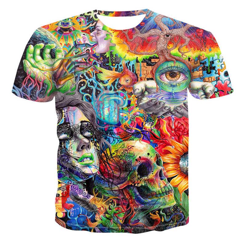 Pria 3D Dicetak Tengkorak Seri Kasual T-shirt Pria dan Wanita Pecinta Fashion Keren Lengan Pendek Kemeja Fashion kaos Atasan