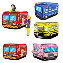 Kids Children Tent Popup Play Tent Toy Outdoor Foldable Playhouse Fire Truck Police Car Game House Bus Tent Indoor Outdoor Game