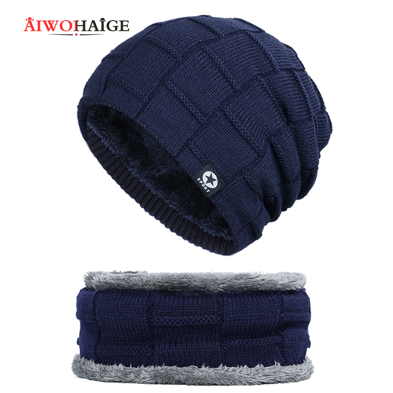 2019 New Beanie Winter Man Caps Winter Woman Caps Skullies Warm Thicken Hedging Cap Soft Cap Knit Beanie 2 Pieces Set Bonnet