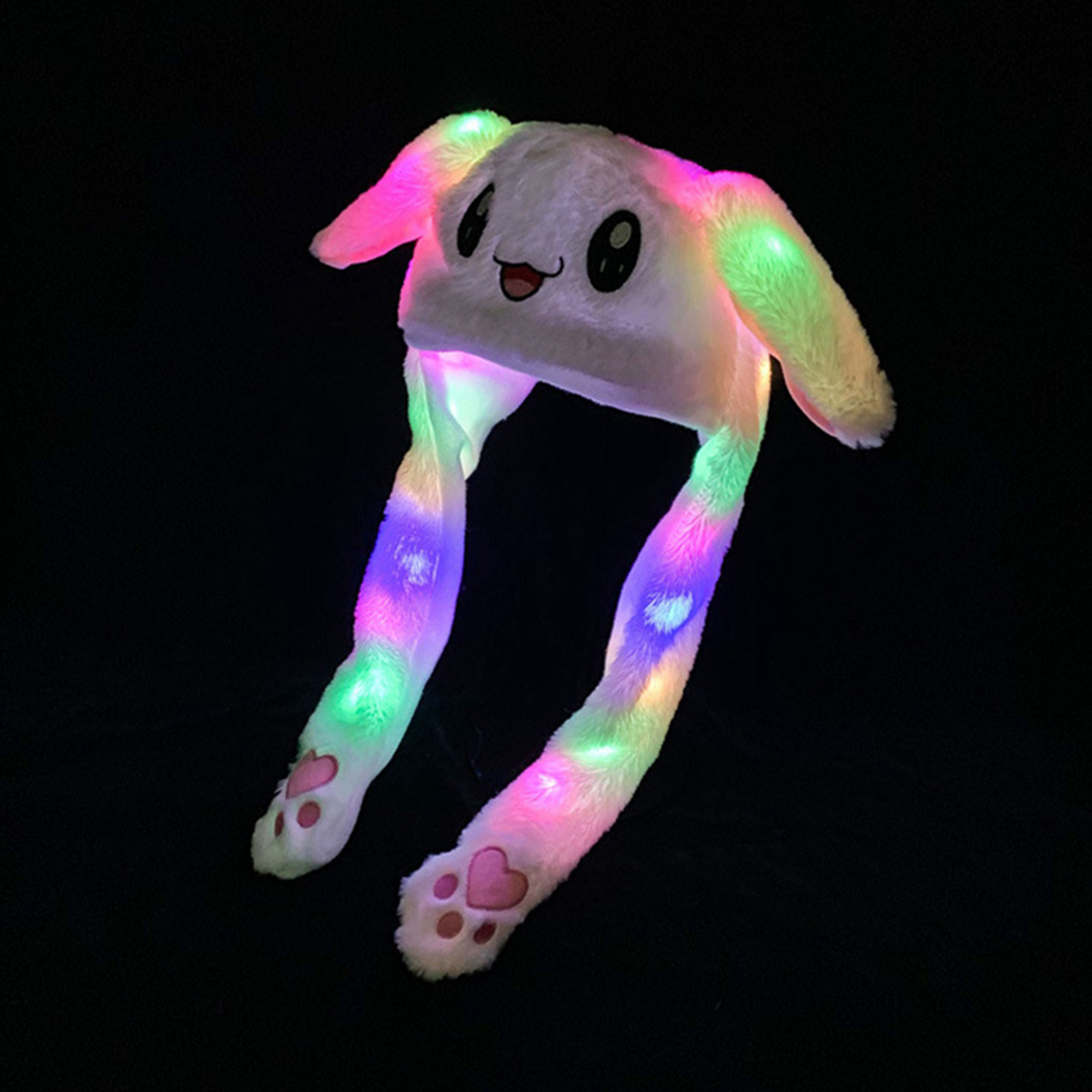 LED Lights Cartoon Moving Ear Rabbit Hat Dance Plush Toy Plush Cap Hat Soft Stuffed Animal Toy Toys Lighting Gift For Children