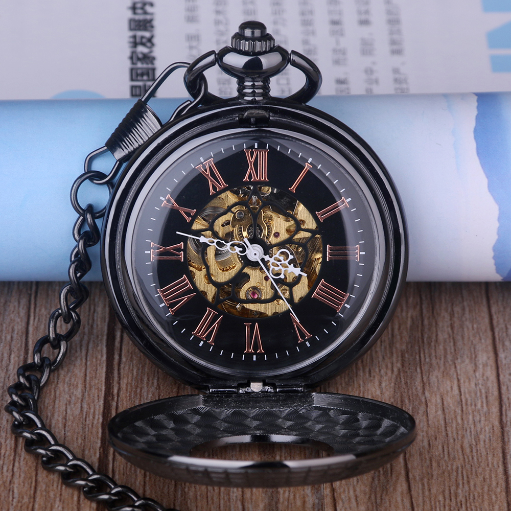 Antique Wooden Mechanical Pocket Watch Roman Numerals Fob Watch Creative Carving Flower Dial Vintage Watches Mens Pendant Chain