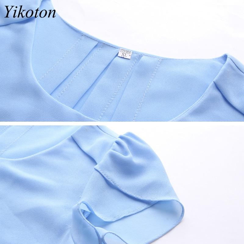 Yikoton 2021 New Summer Women Blouse Loose Shirt O-Neck Chiffon Blouses Female Short Sleeve Blouse Plus Size Shirts Tops Blusas 6