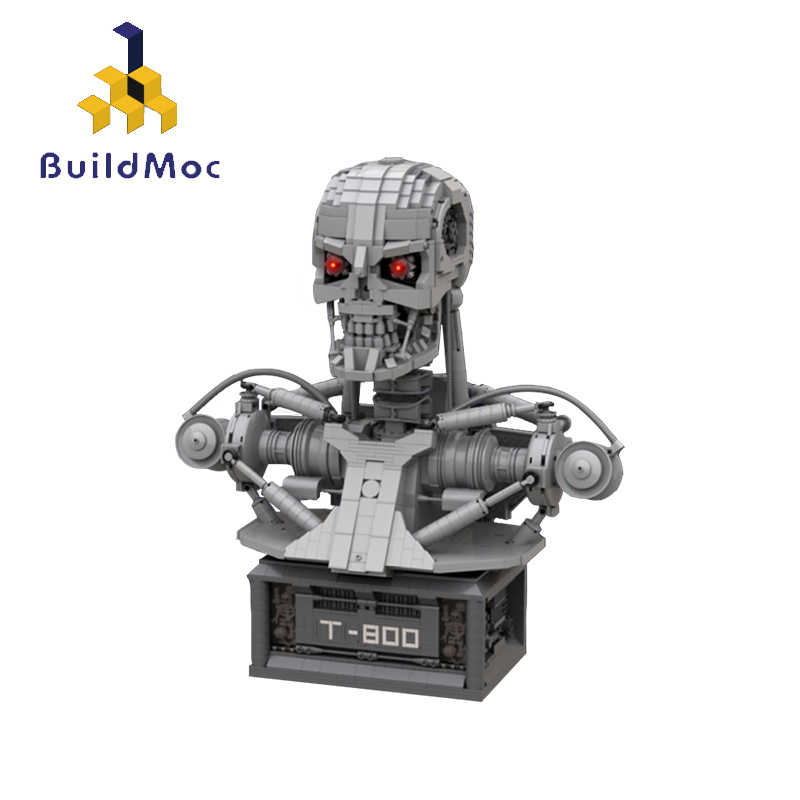MOC Technic The Terminator T-800 Robot Bust Schwarzenegger Movies Action Figures Figurine Half Body Statue Building Blocks Toys