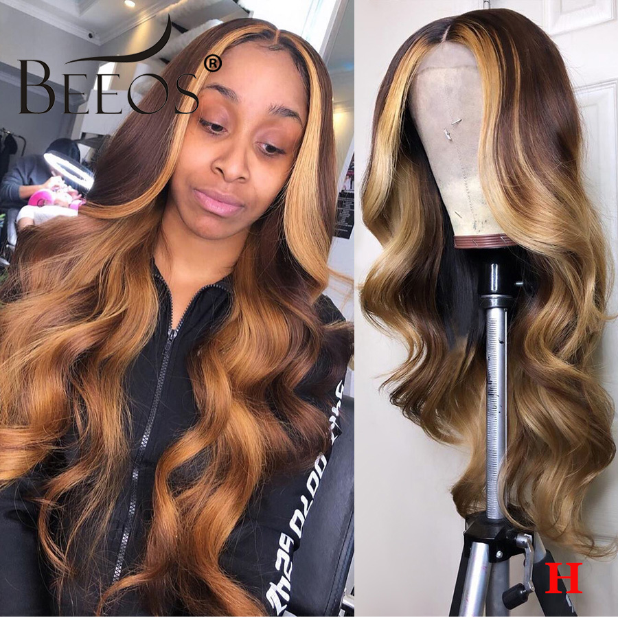 Beeos 13*4 180% Deep Part Lace Front Human Hair Wig Wavy Wave Ombre Honey Blonde Bleached Knots Brazilian Color Remy Hair