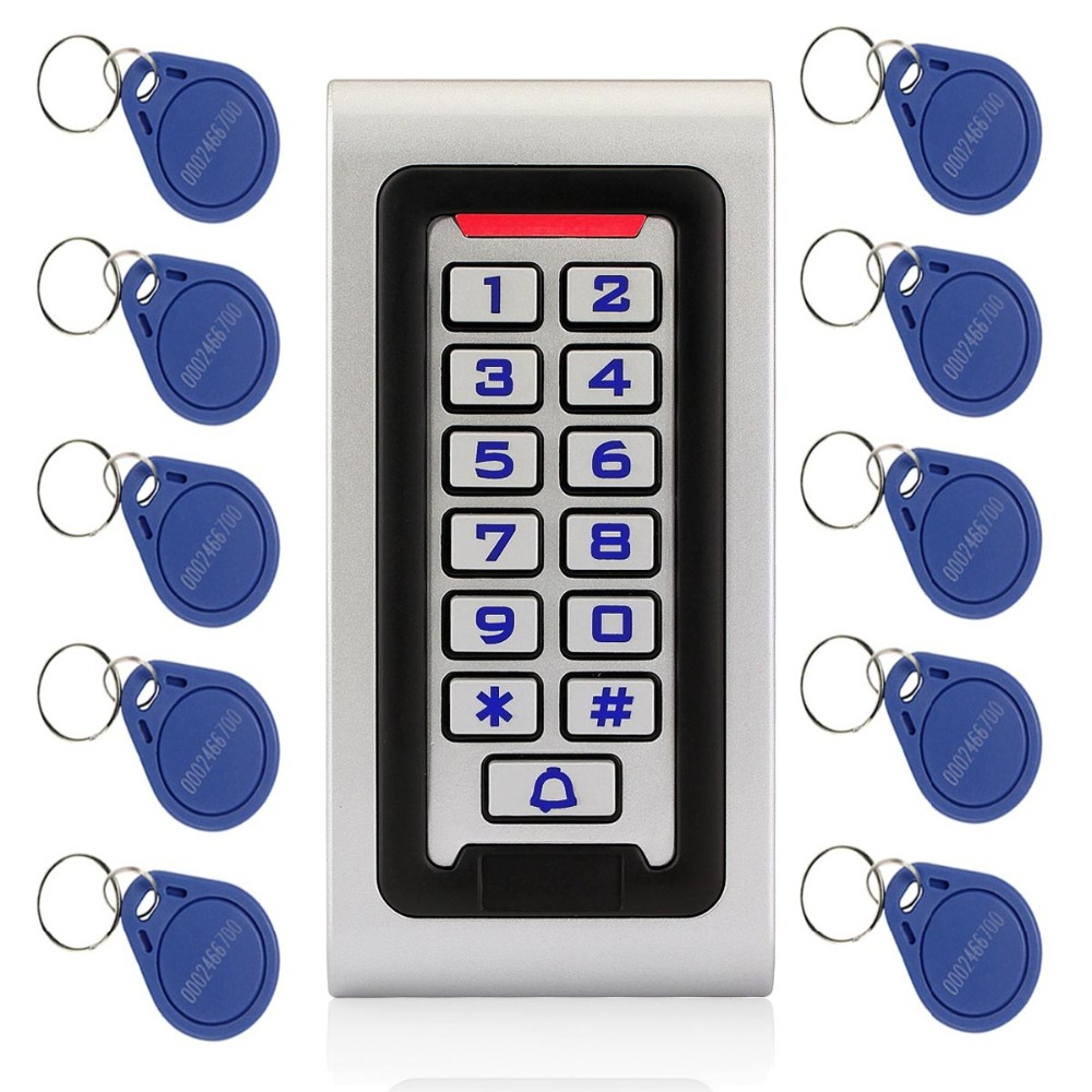 Waterproof IP68 RFID 125KHZ ID Keypad Single Door Stand-alone Access Control Metal Case&Wiegand 26 Bit+10pcs RFID Cards F1215
