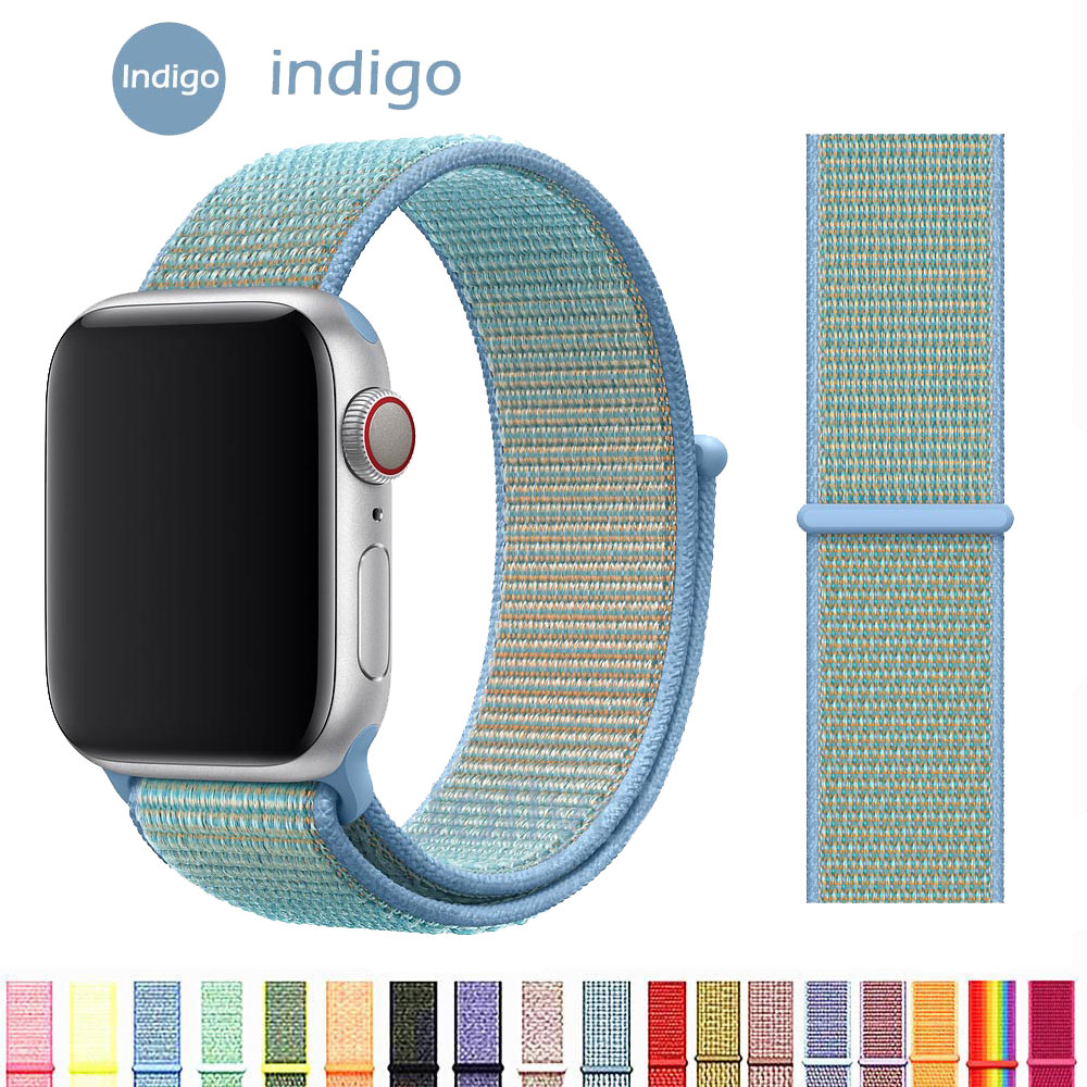 Nylon Soft Breathable Band For Apple Watch Series 4 3/2/1 Bands 38mm 42mm Replacement Sport Loop For Iwatch 4 3 2 1 40mm 44mm