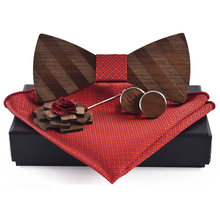 Pocket Square Bros Gravata Dasi Set Pria Bergaris Kayu Bow Tie(China)