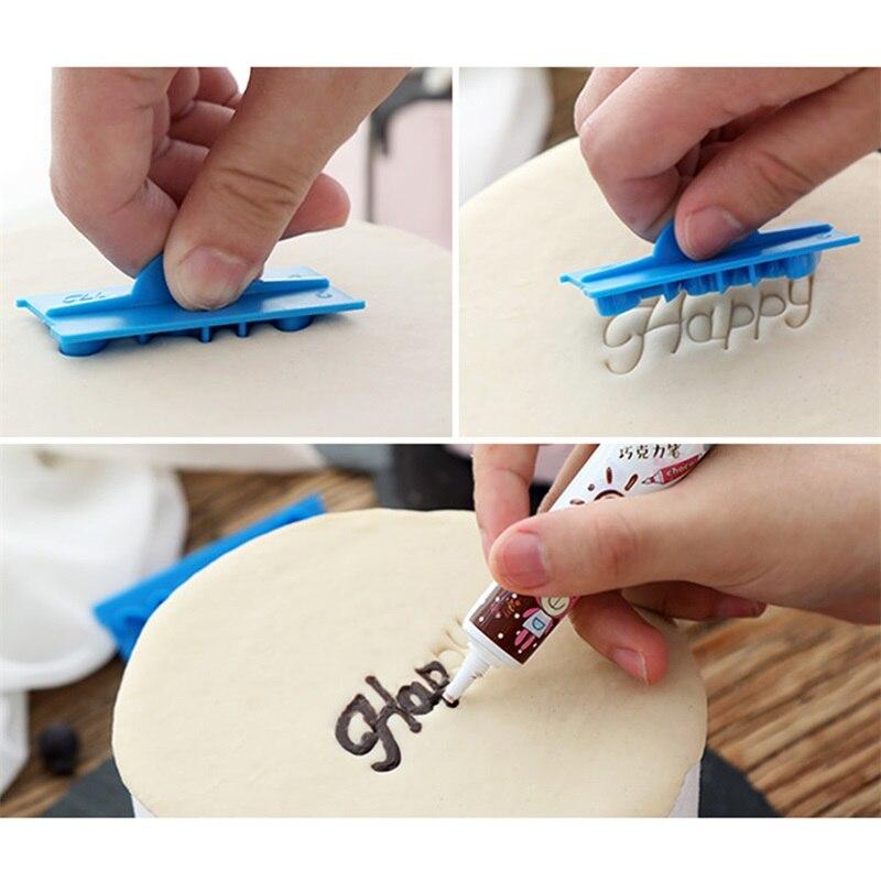 6ชิ้น/เซ็ตเขียนด้วยลายมือFondantเค้กEmbosserตัวอักษรพลาสติกแม่พิมพ์HappyวันเกิดBest Wishesเบเกอรี่แม่พิมพ์ต...