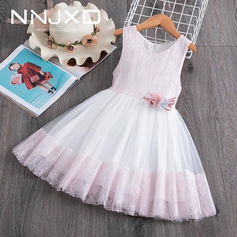 UK Summer Toddler Baby Girls Sleeveless Clothes Lace Dress Flower Party Dress HU