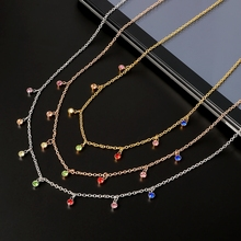 New Fashion Necklace Pendant Crystal Rhinestones Stainless Steel Chain Gold Silver Color Rose