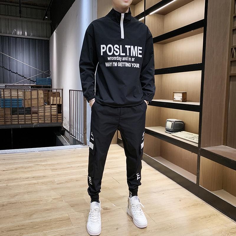Causal Splicing Letter Sets Jacket+Pants 2Pc Spring Tracksuit Sportwear Hoodies Sweatshirt &Pant Suit Trainingspak Heren Men