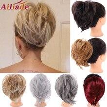 AILIADE Для женщин грязный эластичной резинкой прямые резинка пончик-шиньон из искусственных волос резинка для волос обертка на ободки для вол...