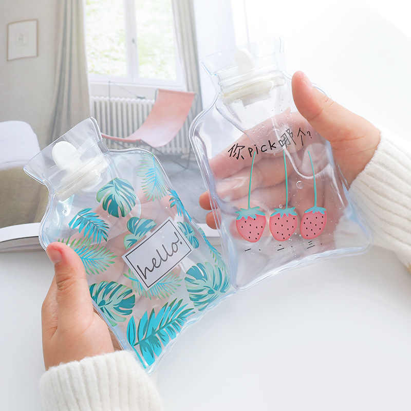 1PC Warm Water Bottle Transparent Cartoon Cute Mini Transparent Hot Water Bottles Small Portable Hand Warmer Water Injection Bag